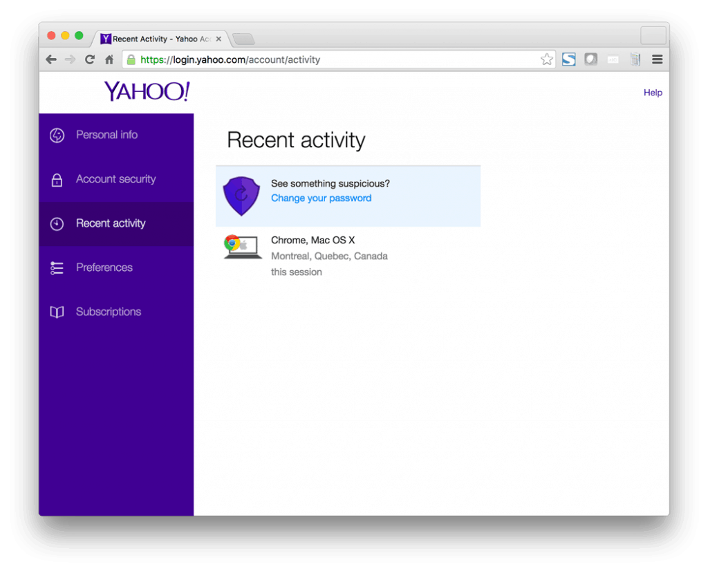 Yahoo Login Activity